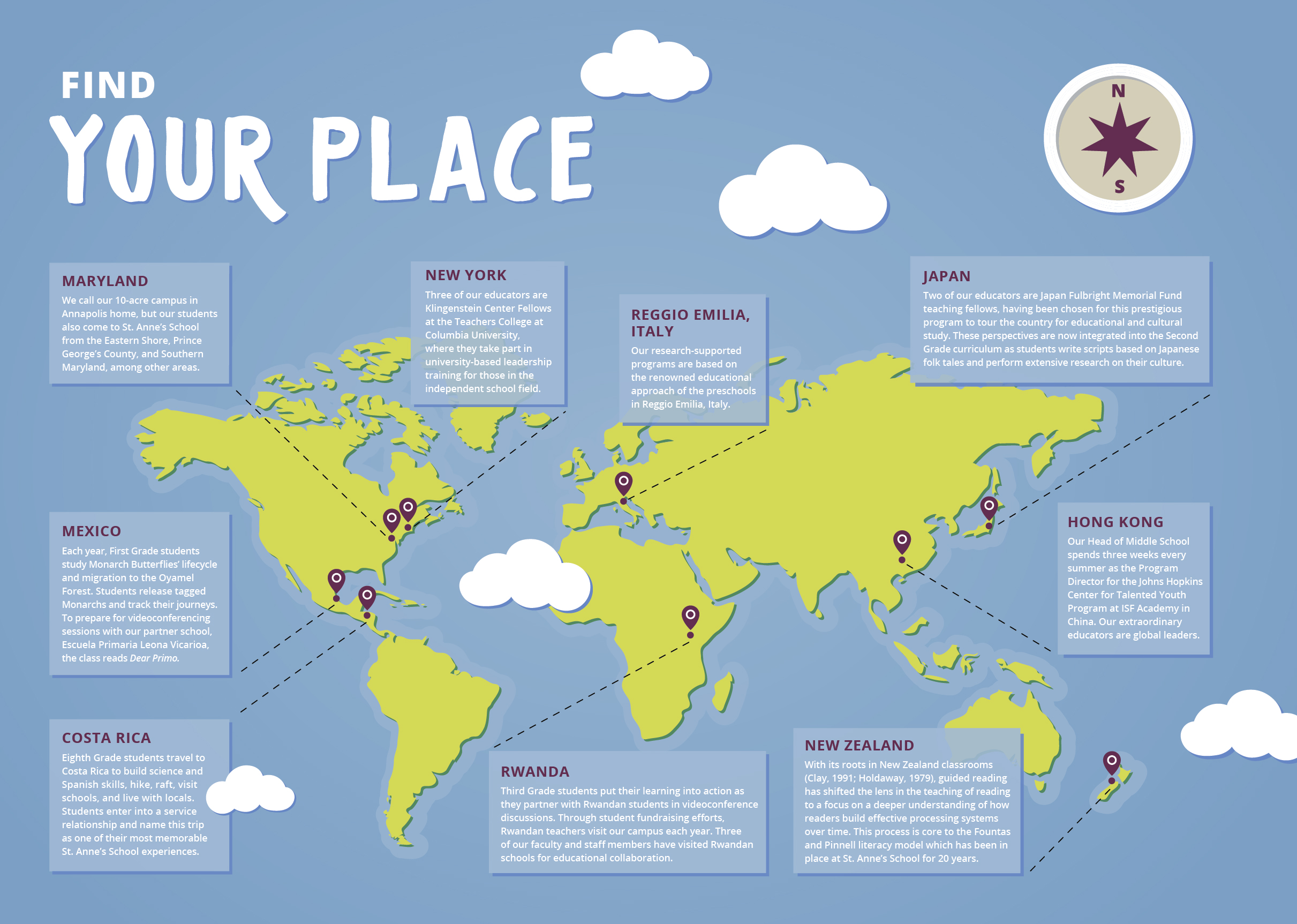 Global map of St. Anne's School involvement